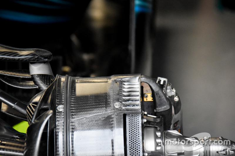 Mercedes F1 W08: Detail der Vorderrad-Bremse