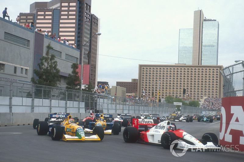 Gerhard Berger, McLaren MP4/6 Honda, Nelson Piquet and Roberto Moreno, Benetton B190B Ford