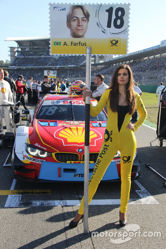 Grid girl of Augusto Farfus, BMW Team MTEK, BMW M4 DTM