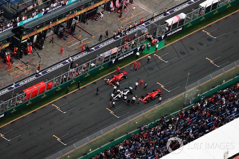 Parc Ferme on the grid after qualifying after Lewis Hamilton, Mercedes AMG F1 W09, takes pole position followed by Sebastian Vettel, Ferrari SF71H and Kimi Raikkonen, Ferrari SF71H