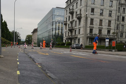 Travaux de construction sur la piste à Zurich