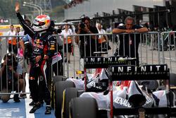 Sebastian Vettel, Red Bull Racing, celebrates pole