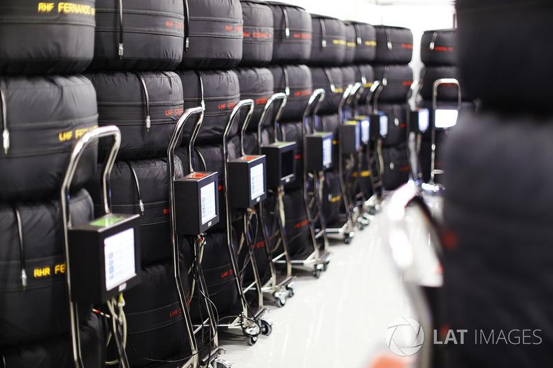 Pilhas de pneus Pirelli com aquecedores