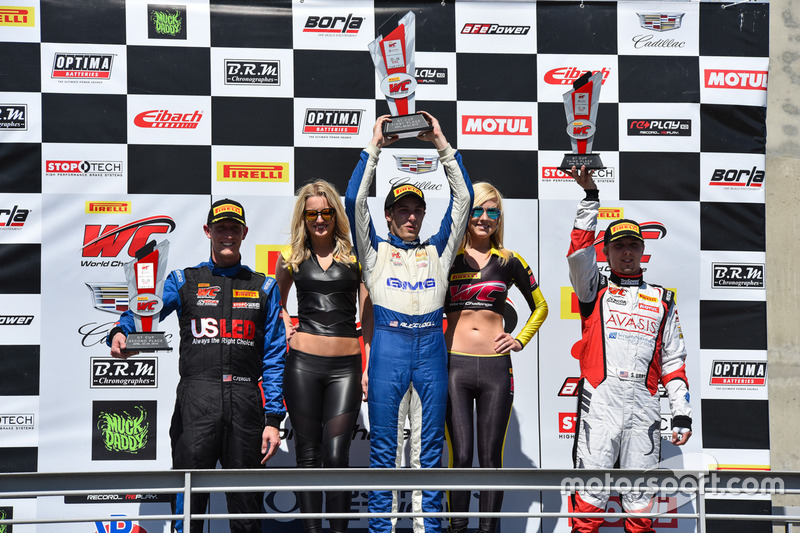 Podium GT-Cup: 1. Aled Udell, Global Motorsports Group; 2. Corey Fergus, Motorsports Promotions; 3. Sloan Urry, TruSpeed Autosport