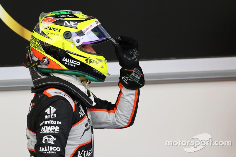 Sergio Pérez, Sahara Force India F1 celebra su tercer puesto en parc ferme