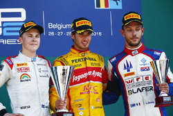 Race winner Antonio Giovinazzi, PREMA Racing, second place Gustav Malja, Rapax, third place Luca Ghiotto, Trident