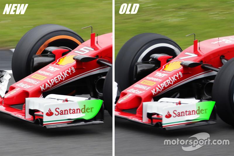 Ferrari SF16-H: Vergleich Frontflügel