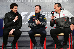 Toto Wolff, Mercedes GP Executive Director, Christian Horner, Red Bull Racing teambaas en Günther S