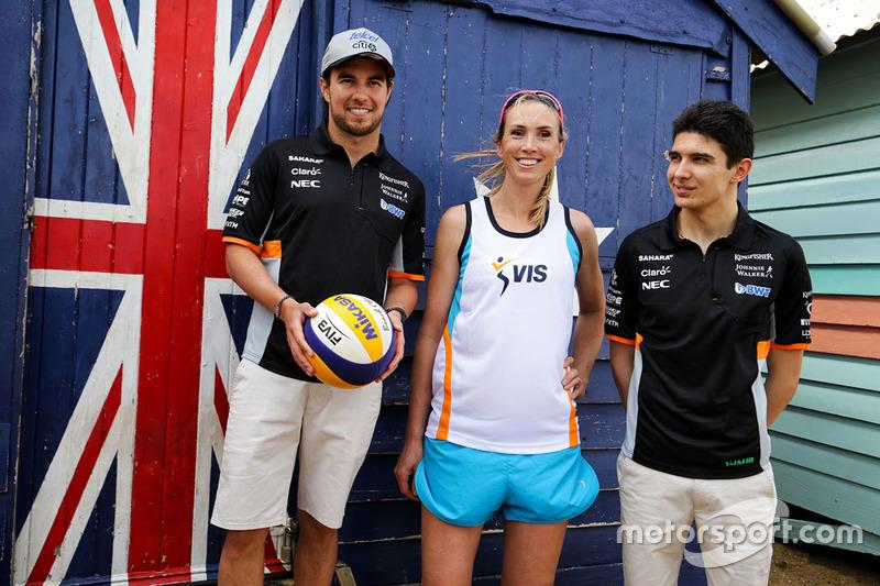 Sergio Perez, Sahara Force India F1; Volleyball-Spieler Tamsin Hinchley; Esteban Ocon, Sahara Force