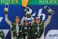 Podium: race winners Timo Bernhard, Earl Bamber, Brendon Hartley, Porsche Team
