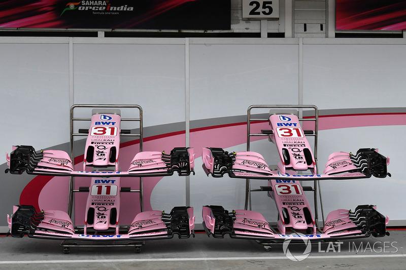 Force India VJM10 nariz y detalle de alas delanteras