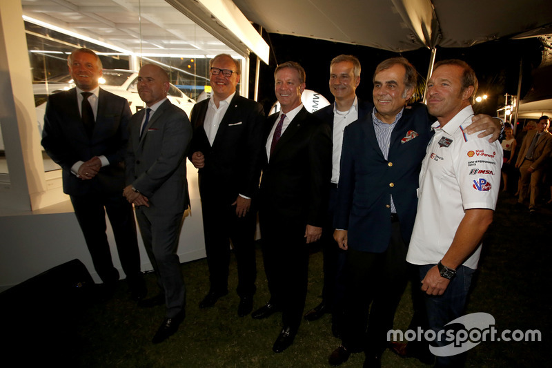 Presentation John Baldessari BMW M6 GTLM Art Car con Jens Marquardt, BMW Motorsport Director; Ludwig Willisch, BMW North America Chief; Bill Auberlen
