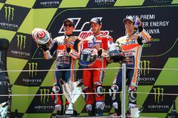 Podium: segundo, Marc Márquez, Repsol Honda Team, Ganador, Andrea Dovizioso, Ducati Team, tercero, Dani Pedrosa, Repsol Honda Team