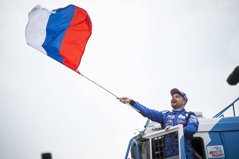 Truck winner Eduard Nikolaev, Team KAMAZ Master celebrates his win