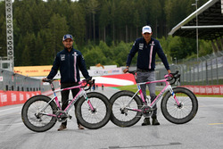 Sergio Perez, Force India and Esteban Ocon, Force India F1 with Wyndy Milla bikes