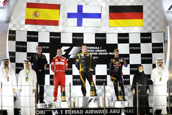 Podium: Race winner Kimi Raikkonen, Lotus F1, second place Fernando Alonso, Ferrari, third place Sebastian Vettel, Red Bull Racing, Eric Boullier, Lotus F1 Team Principal