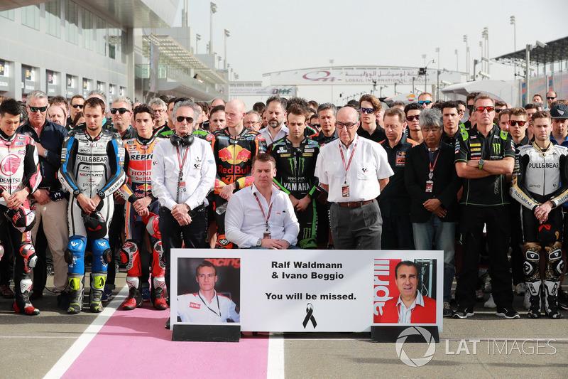 Antes da prova, foi dedicado um minuto de silêncio em homenagem póstuma a Ralf Waldmann e Ivano Beggio.
