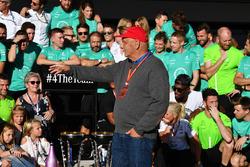 Niki Lauda, Mercedes AMG F1 Non-Executive Chairman celebrates with the team