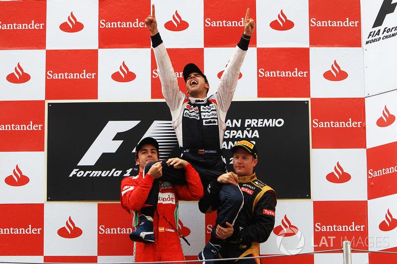 2012: 1. Pastor Maldonado, 2. Fernando Alonso, 3. Kimi Raikkonen