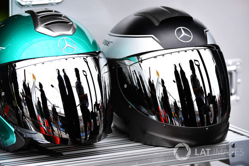 Mercedes AMG F1 mechanics helmets