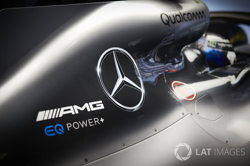 Logos on the car of Valtteri Bottas, Mercedes AMG F1 W09