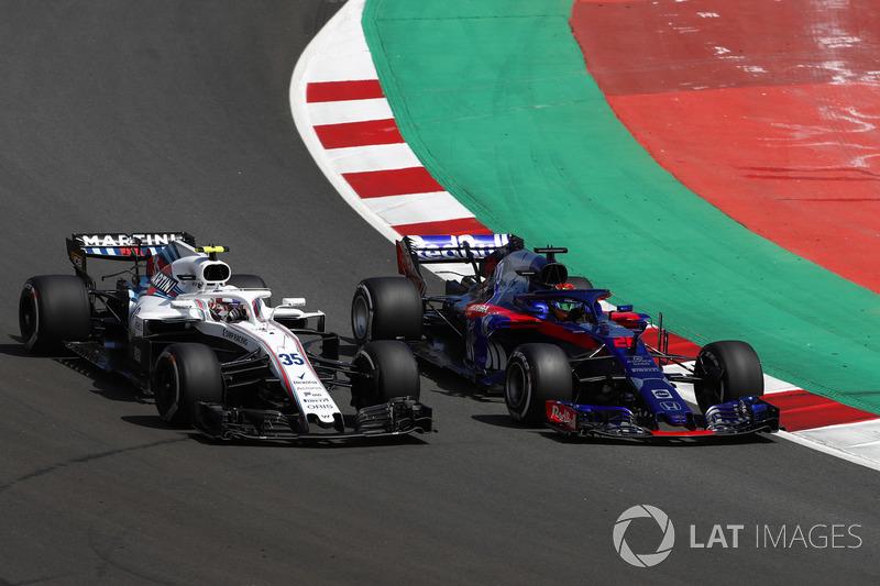Sergey Sirotkin, Williams FW41, lotta con Brendon Hartley, Toro Rosso STR13