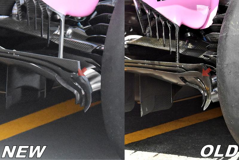Comparaison des diffuseurs de la Force India VJM11