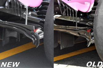 Force India VJM11 comparación del difusor