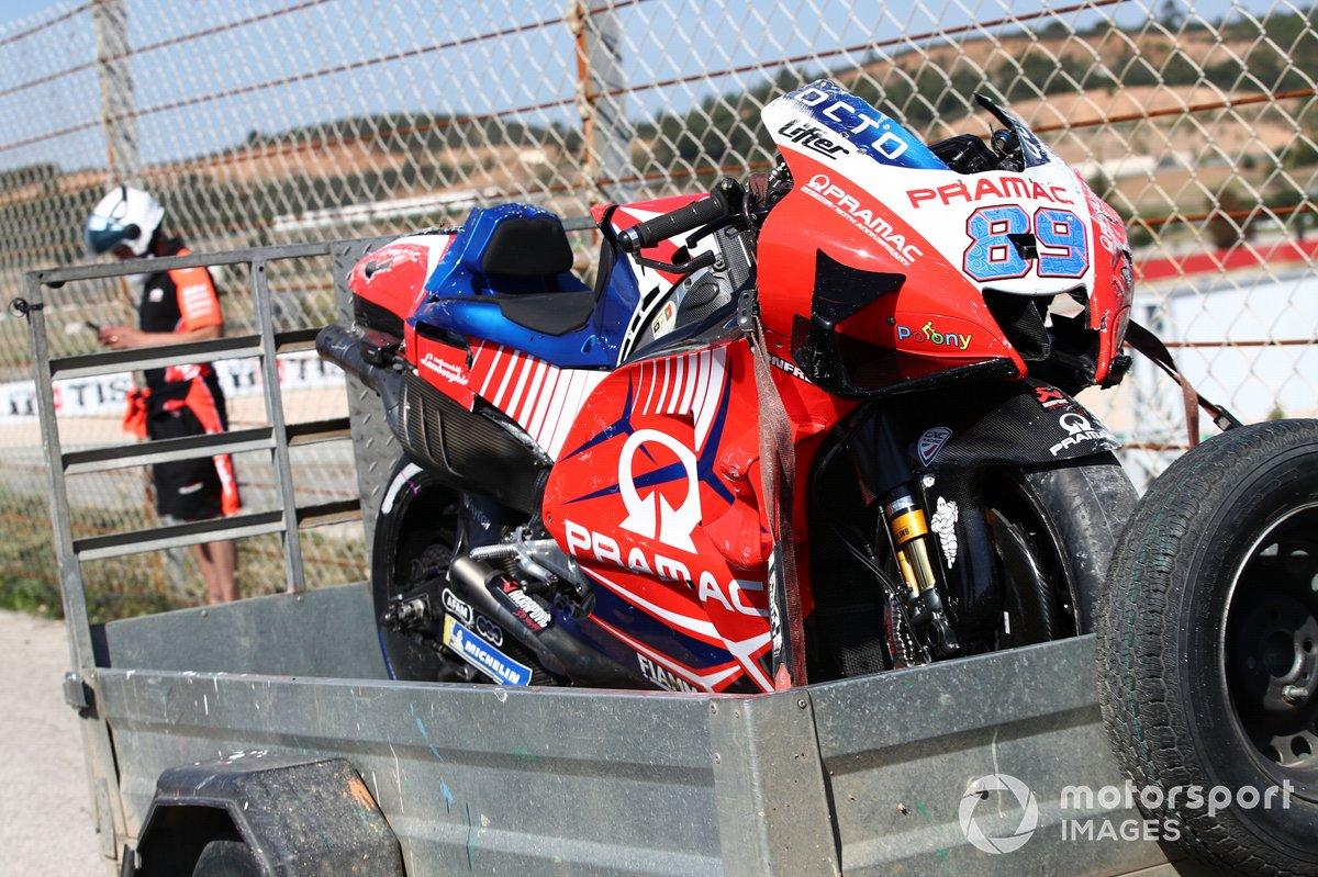 Damaged bike by Jorge Martin, Pramac Racing