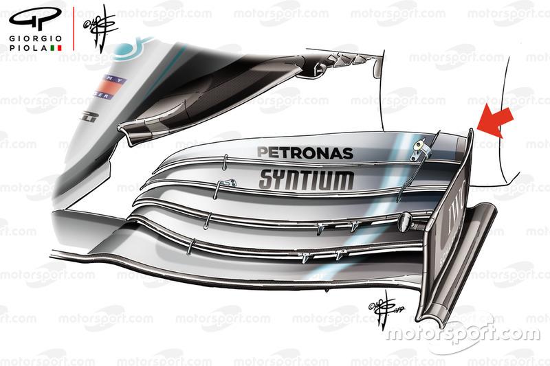 Detalle del alerón delantero del Mercedes-AMG F1 W10