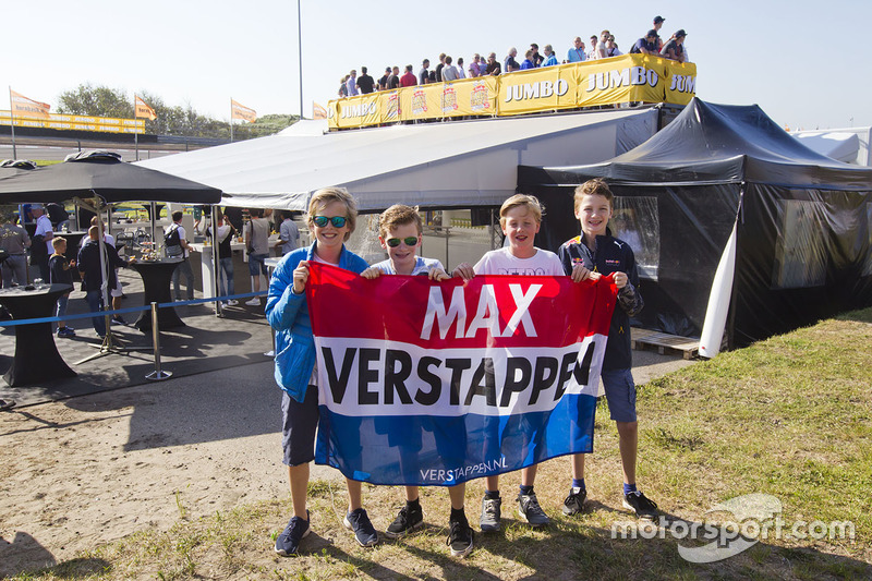 Young fans of Max Verstappen, Red Bull Racing