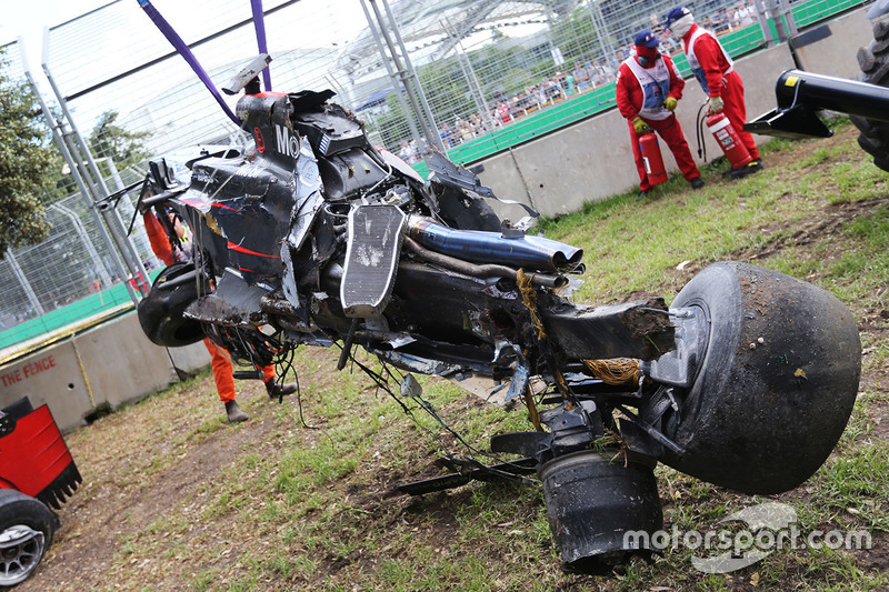 The McLaren MP4-31 of Fernando Alonso, McLaren after his race stopping crash