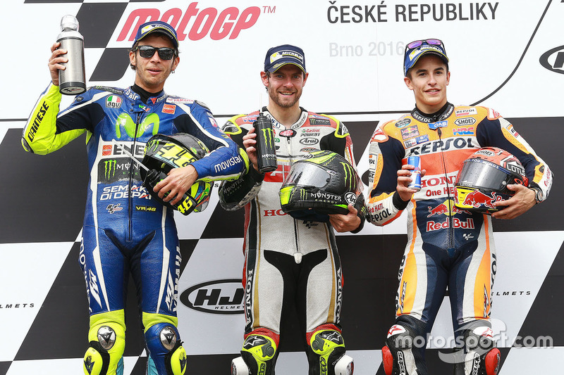 Podium: race winner Cal Crutchlow, Team LCR Honda, second place Valentino Rossi, Yamaha Factory Racing, third place Marc Marquez, Repsol Honda Team