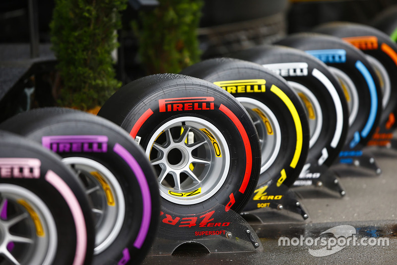 The full range of Pirelli tyres on display in the paddock