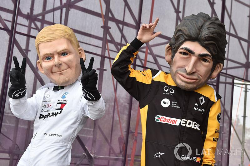 Guiñoles de Carlos Sainz Jr., Renault Sport F1 Team, Valtteri Bottas, Mercedes-AMG F1