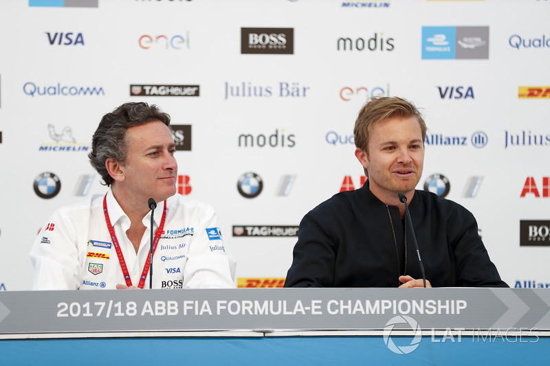 Alejandro Agag, CEO, Formula E, with Nico Rosberg, Formula E investor, Hugo Boss Ambassador, in the press conference