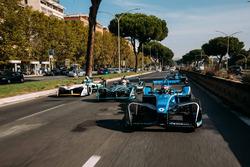 Sébastien Buemi, Renault e.Dams, Nelson Piquet Jr., Jaguar Racing, Lucas di Grassi, Audi Sport ABT Schaeffler y Luca Filippi, NIO Formula E Team