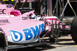 Esteban Ocon, Force India VJM11, in the pit lane