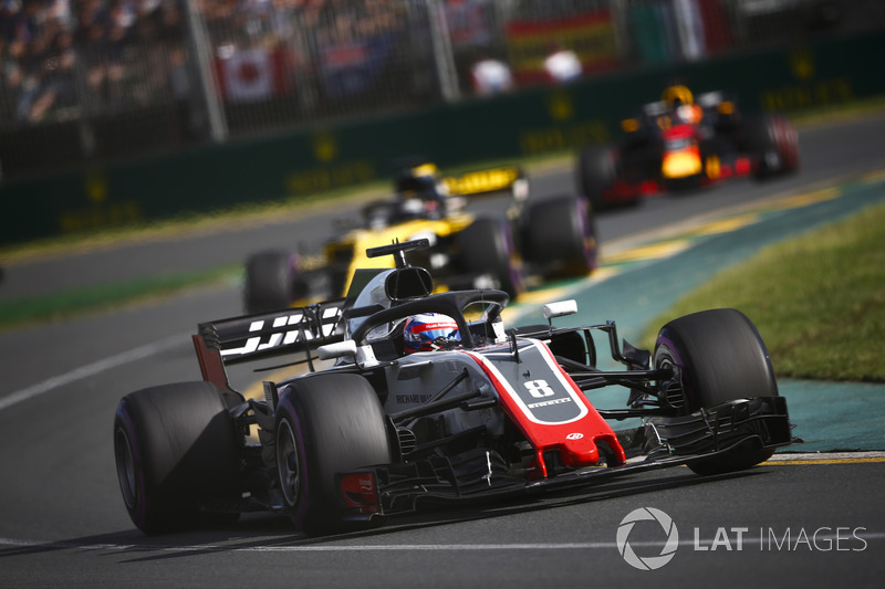 Romain Grosjean, Haas F1 Team VF-18 Ferrari, Nico Hulkenberg, Renault Sport F1 Team R.S. 18, Daniel Ricciardo, Red Bull Racing RB14 Tag Heuer
