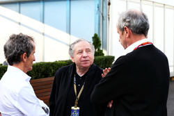 Alain Prost, Renault Sport F1 Team RS17 Special Advisor with Jean Todt, FIA President and Jerome Stoll, Renault Sport F1 President