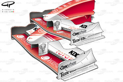 Toyota TF104B front wing and nose comparison with previous specification (bottom)