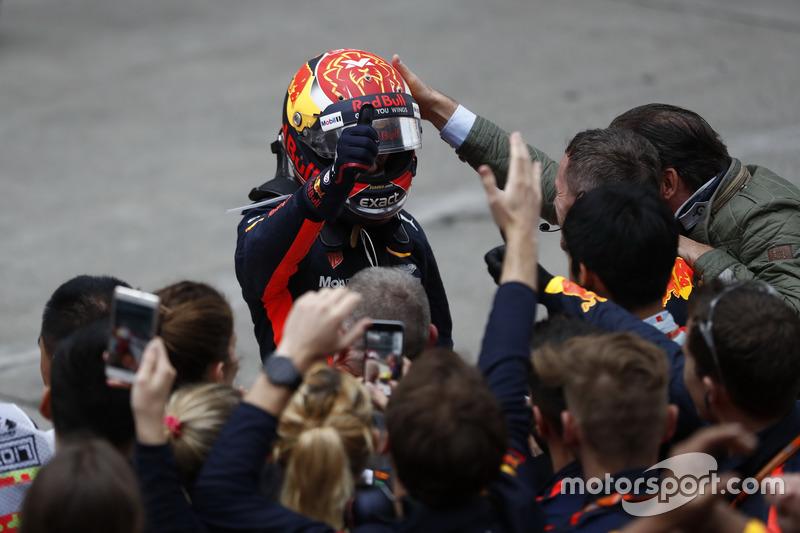 Max Verstappen, Red Bull Racing, celebrates in parc ferme