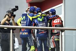 Podio: Valentino Rossi, Yamaha Factory Racing, Maverick Viñales, Yamaha Factory Racing, Cal Crutchlo