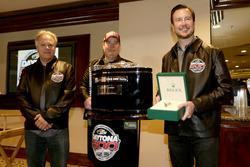Gene Haas, Team owner Stewart-Haas Racing; Tony Gibson, Crew chief; Kurt Busch, Stewart-Haas Racing Ford