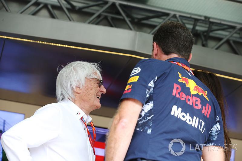 Bernie Ecclestone, Chairman Emeritus of Formula 1, Christian Horner, Team Principal, Red Bull Racing