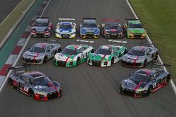 Gruppenfoto: Alle Audi R8 LMS für die 24h Nürburgring 2017