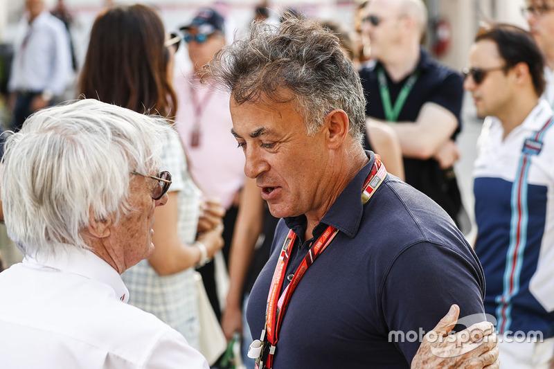 Bernie Ecclestone, Chairman Emiritus of Formula 1, with Jean Alesi