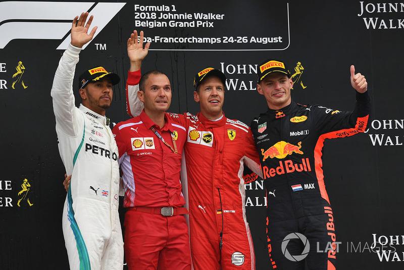 Lewis Hamilton, Mercedes AMG F1, David Sanchez, Ferrari, Sebastian Vettel, Ferrari and Max Verstappen, Red Bull Racing celebrate on the podium