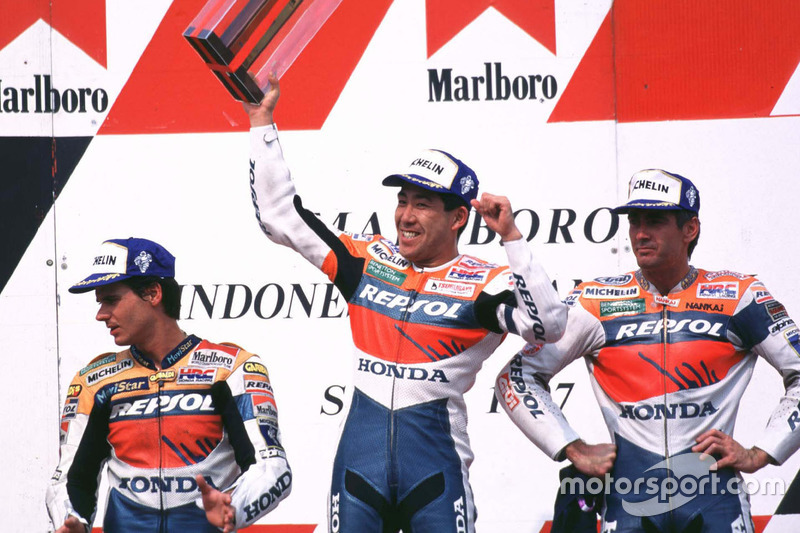 Podium: winner Tadayuki Okada, Honda, second place Mick Doohan, Repsol Honda Team, third place Alex Crivillé, Honda