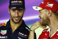 Pressekonferenz: Daniel Ricciardo, Red Bull Racing; Sebastian Vettel, Ferrari